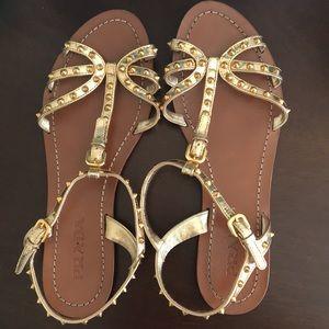 Prada sandals. Gold, spike straps. Size 38 (US 8)